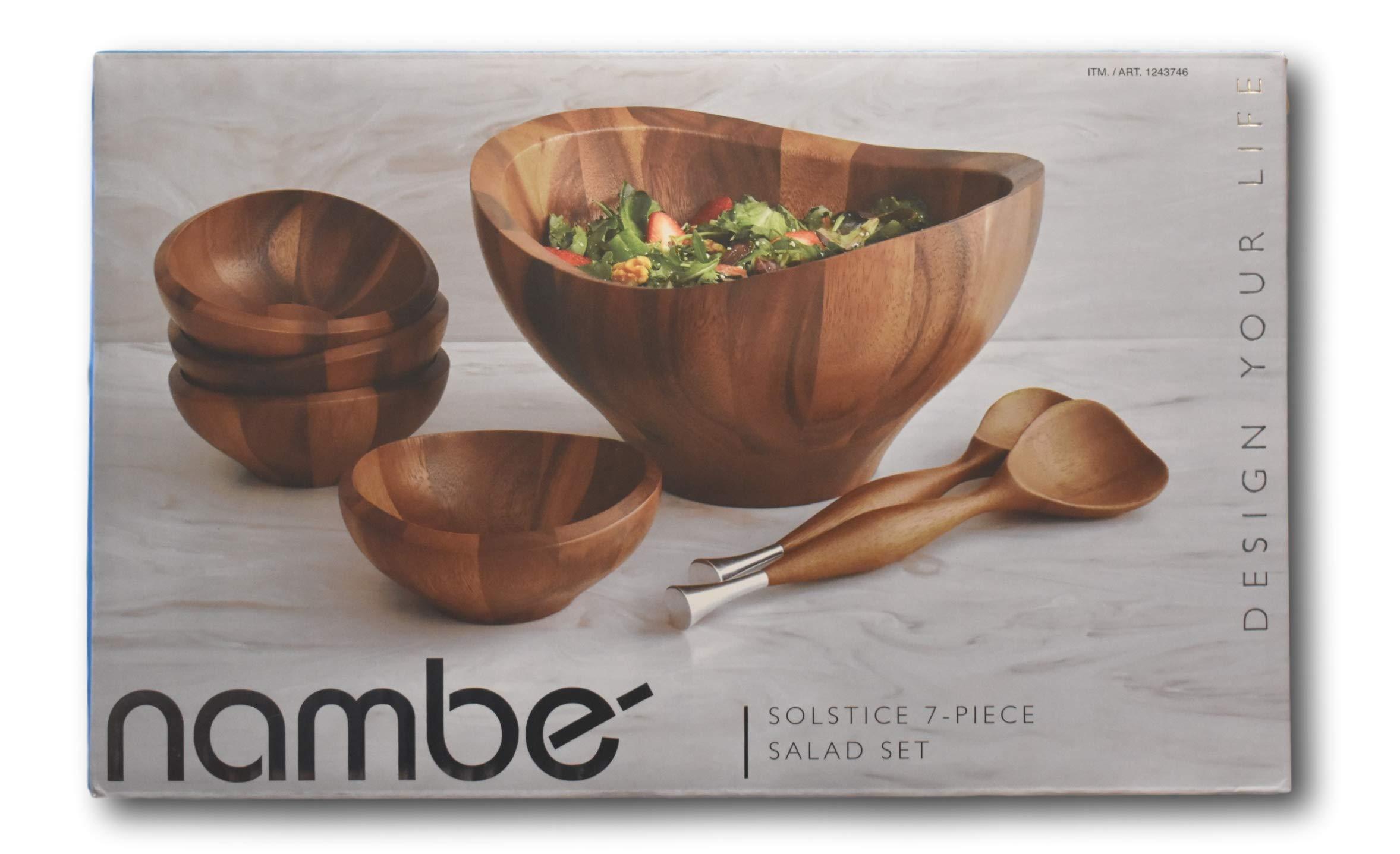 Nambe Solstice 7 Piece Salad Set- Made From Premium Acacia Wood