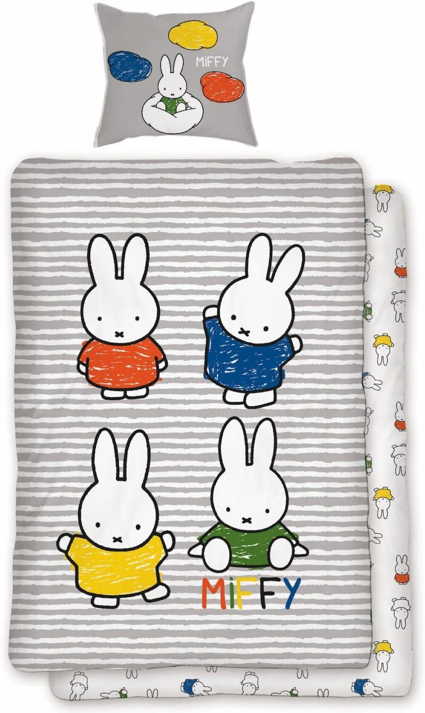 Coton 135 x 200 cm // 80 x 80 cm Bunt Parure de lit 2/pi/èces Miffy Multicolore r/éversible 100/% coton rayures Miffy Lapin Lapin enfants design