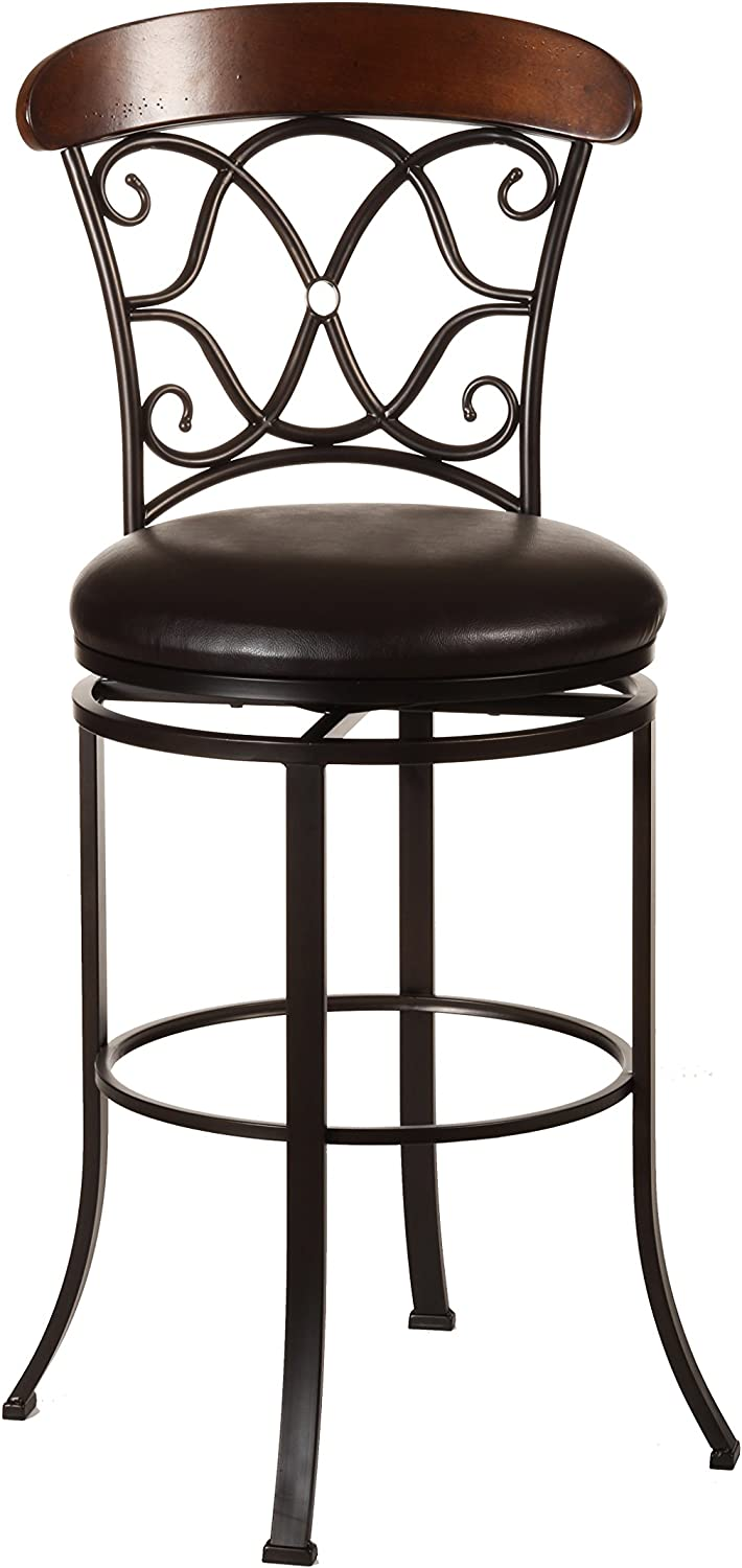 Hillsdale Furniture Dundee Swivel Counter Stool, Dark Coffee