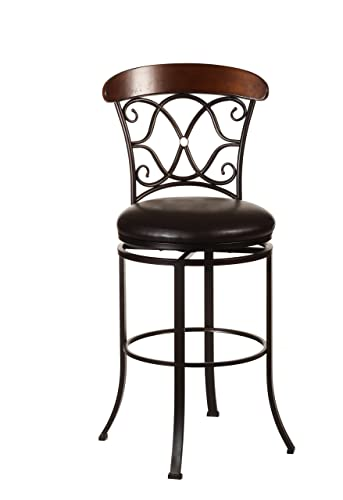 Hillsdale Furniture Dundee Swivel Bar Stool, Dark Coffee