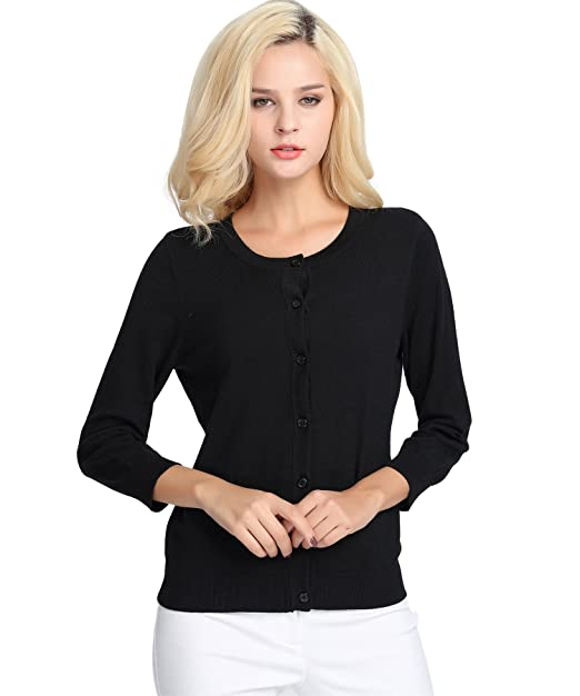 Women s Cardigan Knit Wear Sweater 3 4 Sleeve at Amazon Women s ... 5d9847775