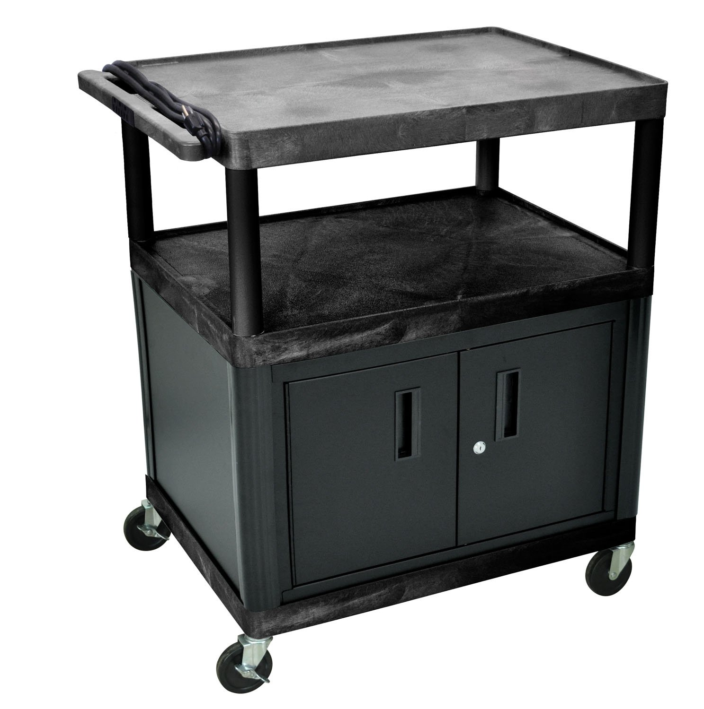 Luxor LP40CE-B 40'' Multipurpose Presentation AV Cart with Cabinet, Electric