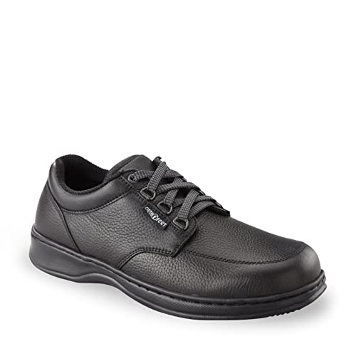 Orthofeet Avery Island Comfort Orthopedic Diabetic Walking Plantar  Fasciitis Shoes for Men Black Leather 7 M 86a763abb7c