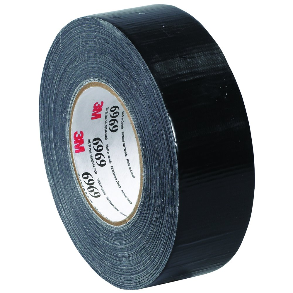 3M T98769693PKB Duct Tape, 2'' x 60 yd, Black (Pack of 3)