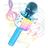 JMFinger Karaoke Microphone for Kids and Adults, Wireless Portable Handheld Bluetooth Microphone with LED Lights - Best Gifts