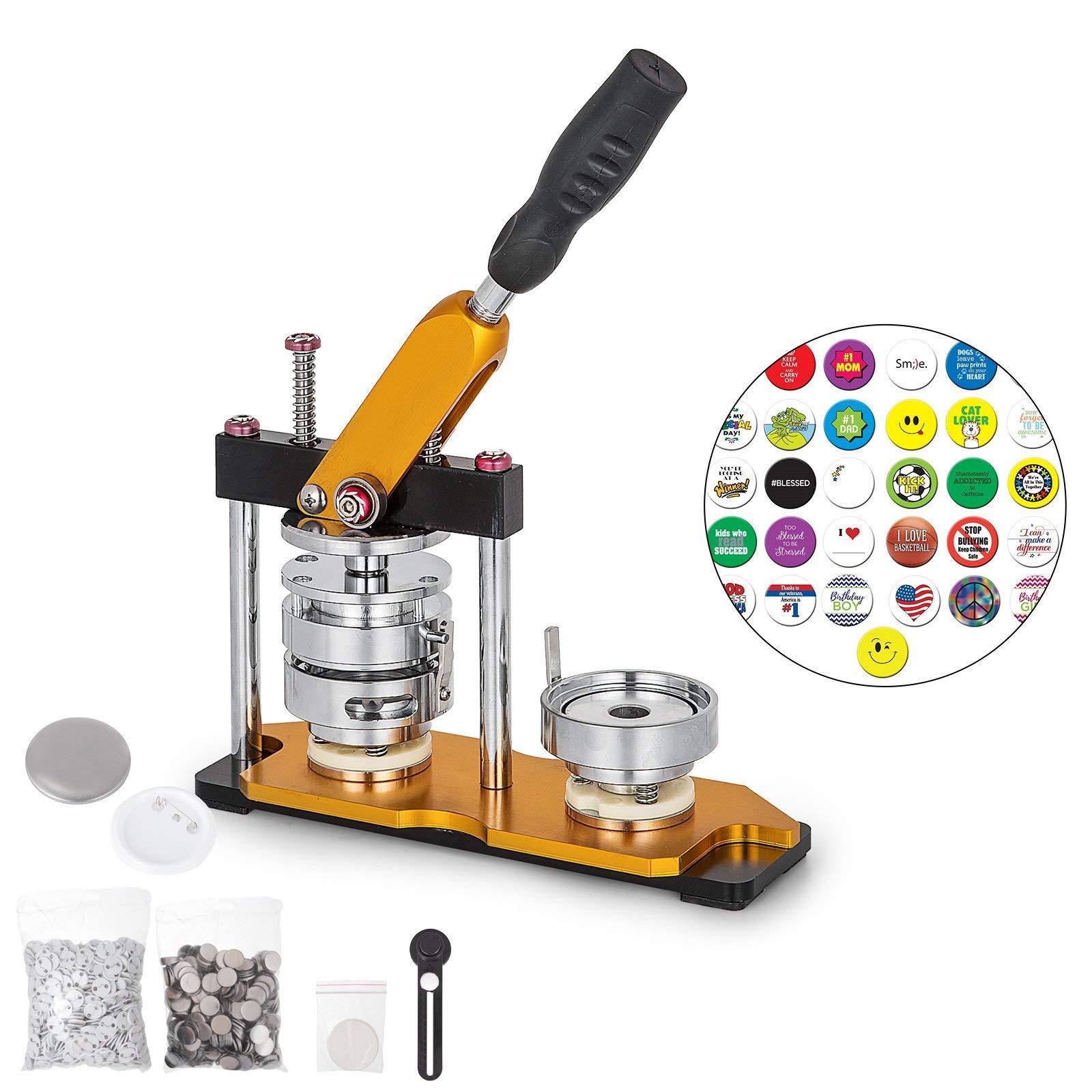 VEVOR Button Maker 58mm Badge Machine with 200 Sets Circle Button Parts Rotate Button Badge Maker Punch Press Machine for DIY Badges by VEVOR