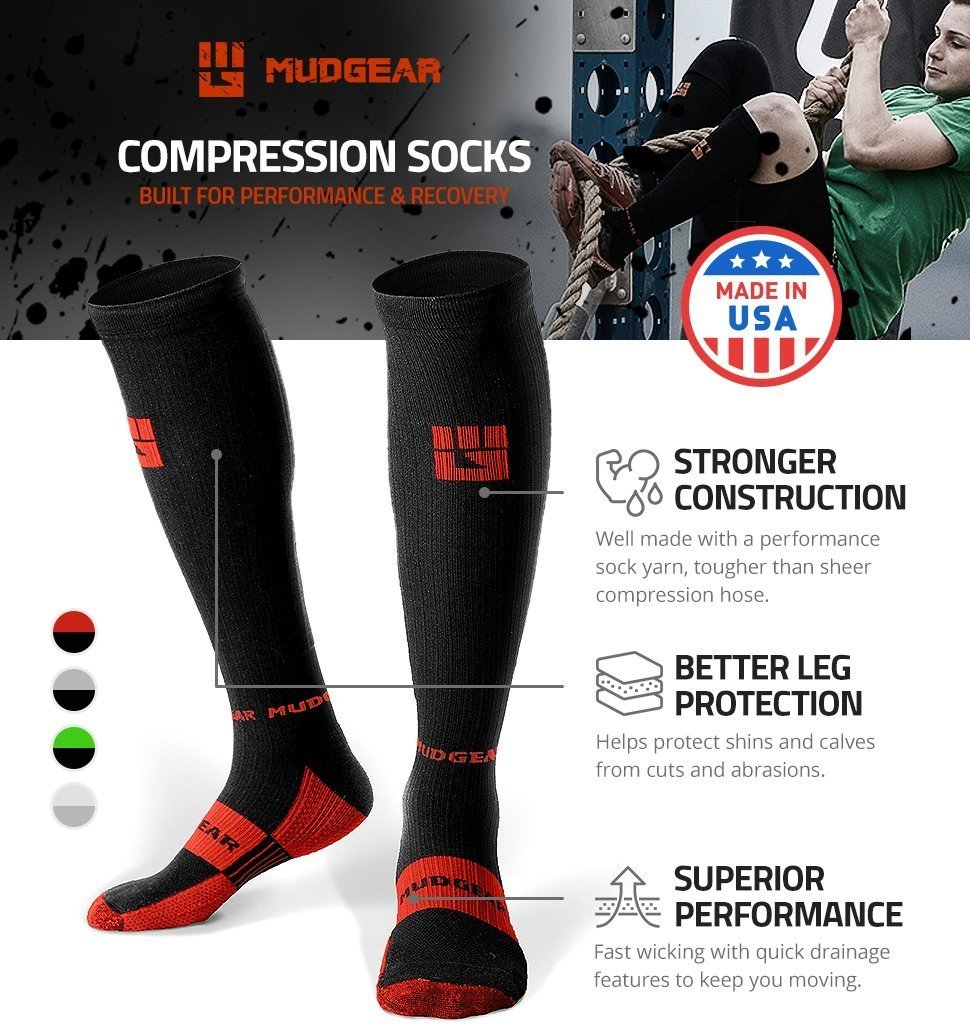 MudGear Premium Compression Socks - Mens & Womens running hiking trail (1 Pair) by MudGear (Image #3)