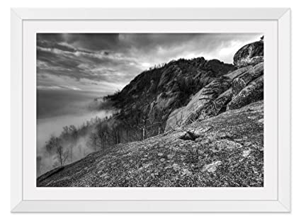 Black and white mountain white frame art print poster home wall decor14x20 inch
