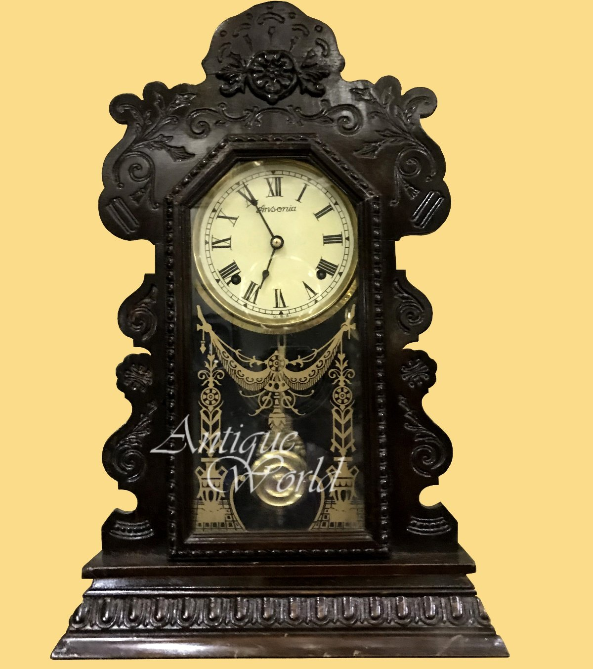 Antiques World Ansonia Gingerbread Elegant Wind Up Vintage England Watch Old Wooden Art Clocks Collectible Beautifully Designed Home And Wall Décor Antique Pendulum Wall Clock AWUAHB 0201
