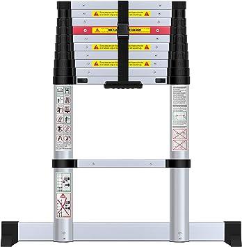 WolfWise Escalera telescópica de 3,2m con barra estabilizadora ...