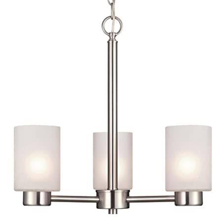 Westinghouse 6227500 Sylvestre Three-Light Interior Chandelier, Brushed Nickel Finish with Frosted Seeded Glass, 18.25 x 18.25 x 17.63