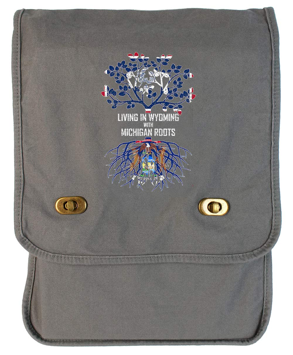 Tenacitee Living In Wyoming with Michigan Roots Grey Brushed Canvas Messenger Bag