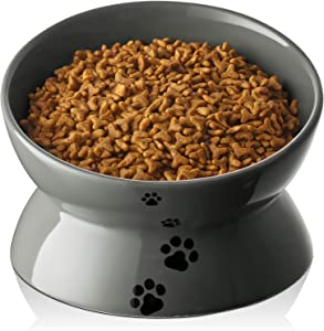 Y YHY Cat Food Bowl, Large Raised Cat Bowls Anti Vomiting, 7 Inch Tilted Elevated Cat Bowl, Ceramic Pet Food Bowl for Cats and Small Medium Large Dogs, Dishwasher Safe, Grey