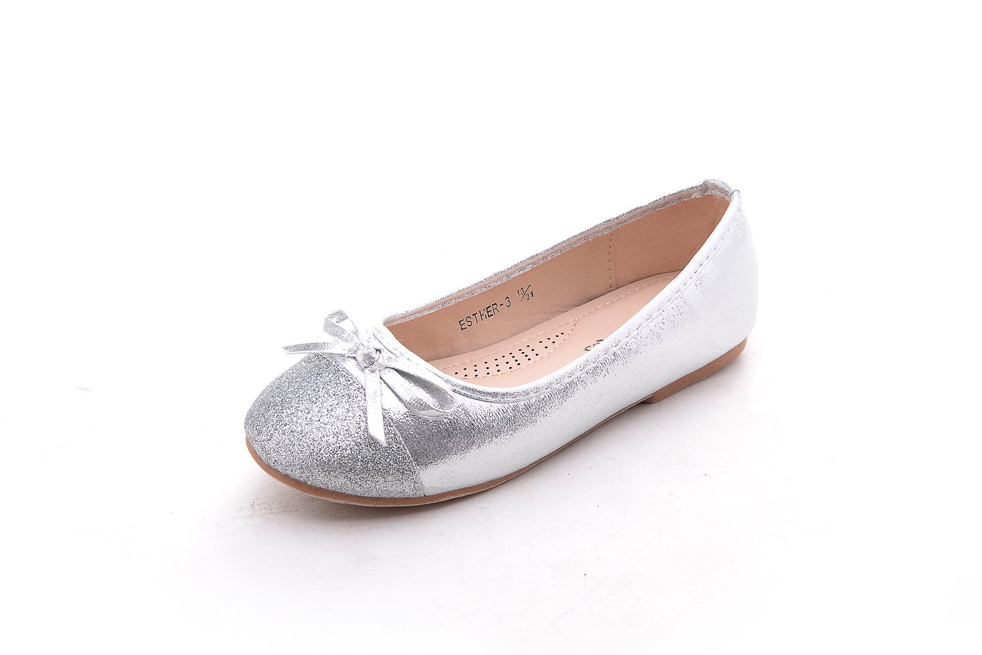 Mila Girls Casual Slip On Glitter Ballerina Dress Flat Shoes Party Wedding (Esther-3) Sliver 1