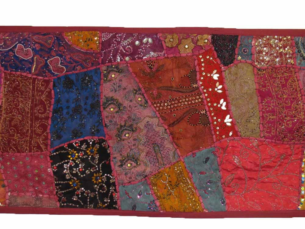Indian Tapestry Kantha Zari Handmade Vintage Tribal Rajasthani Patchwork Tapestry Table Runner (Red Pink Tones) by Rajasthan Cottage (Image #3)