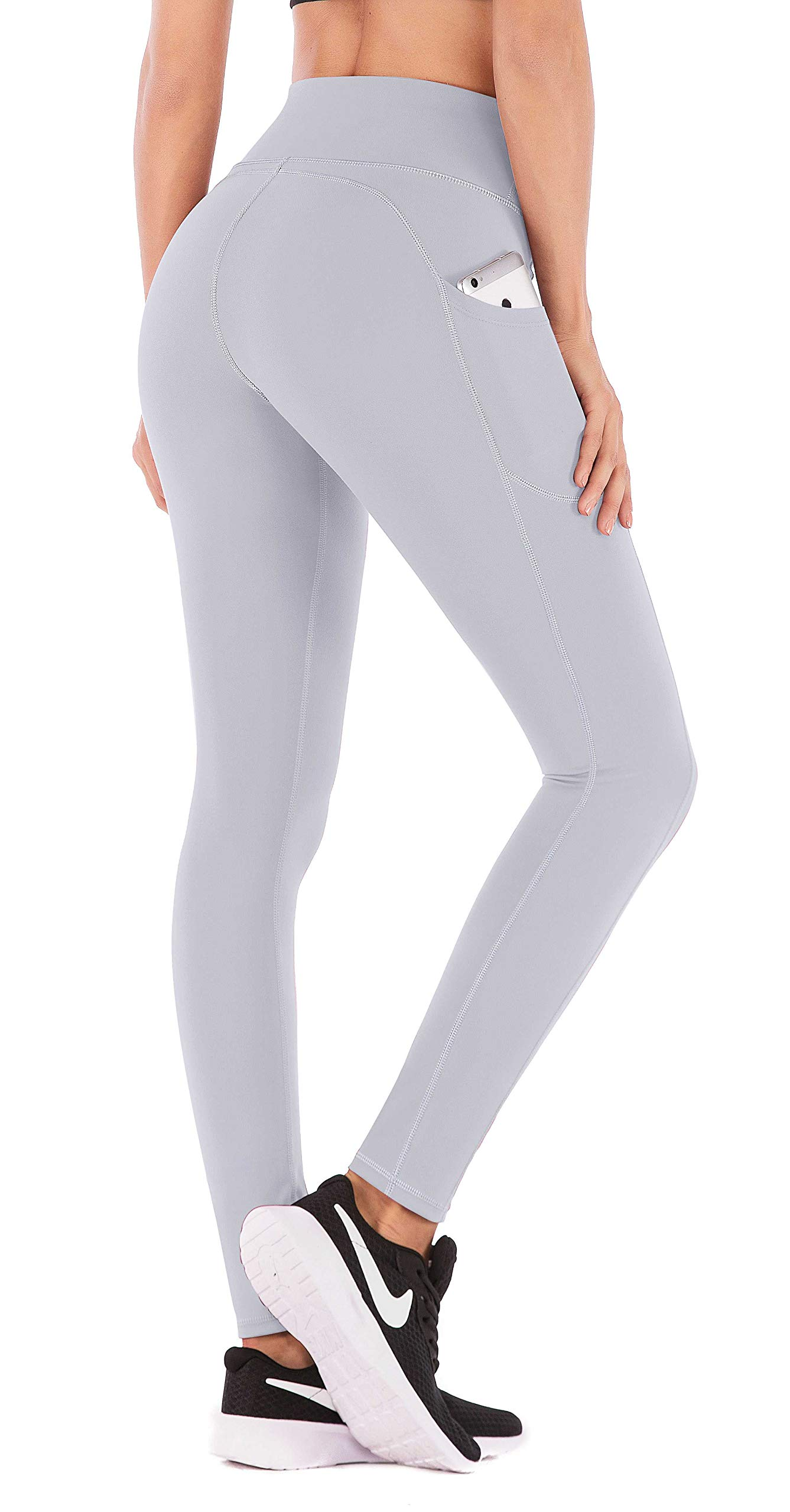 IUGA High Waist Yoga Pants with Pockets, Tummy Control, Workout Pants for Women 4 Way Stretch Yoga Leggings with Pockets (840 Light Gray, X-Large) by IUGA