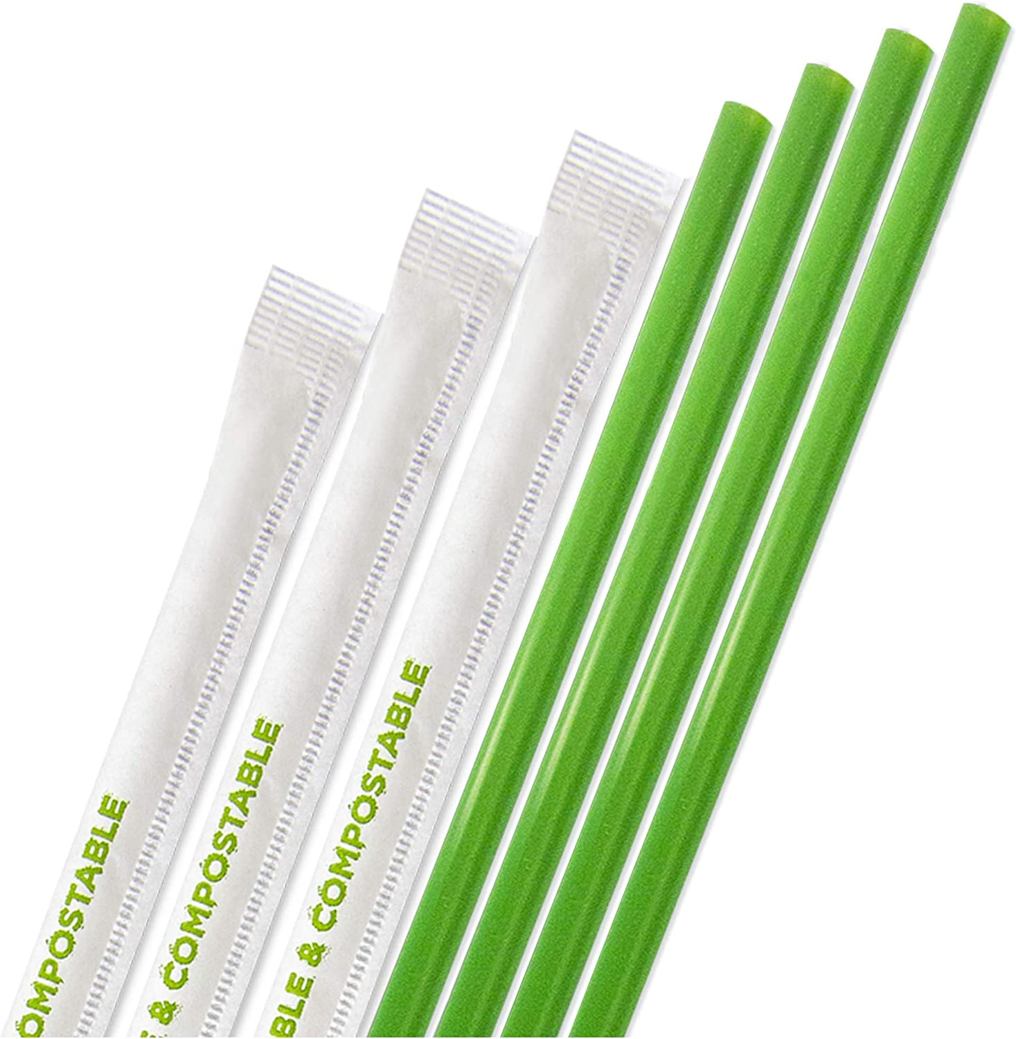 [400 Pack] Compostable Straws 7 3/4 Inch Long - Green Disposable Straws, Biodegradable Eco Friendly Drinking Straw for Milkshake Smoothies, PLA Plant Based Individually Wrap Plastic Paper Alternative