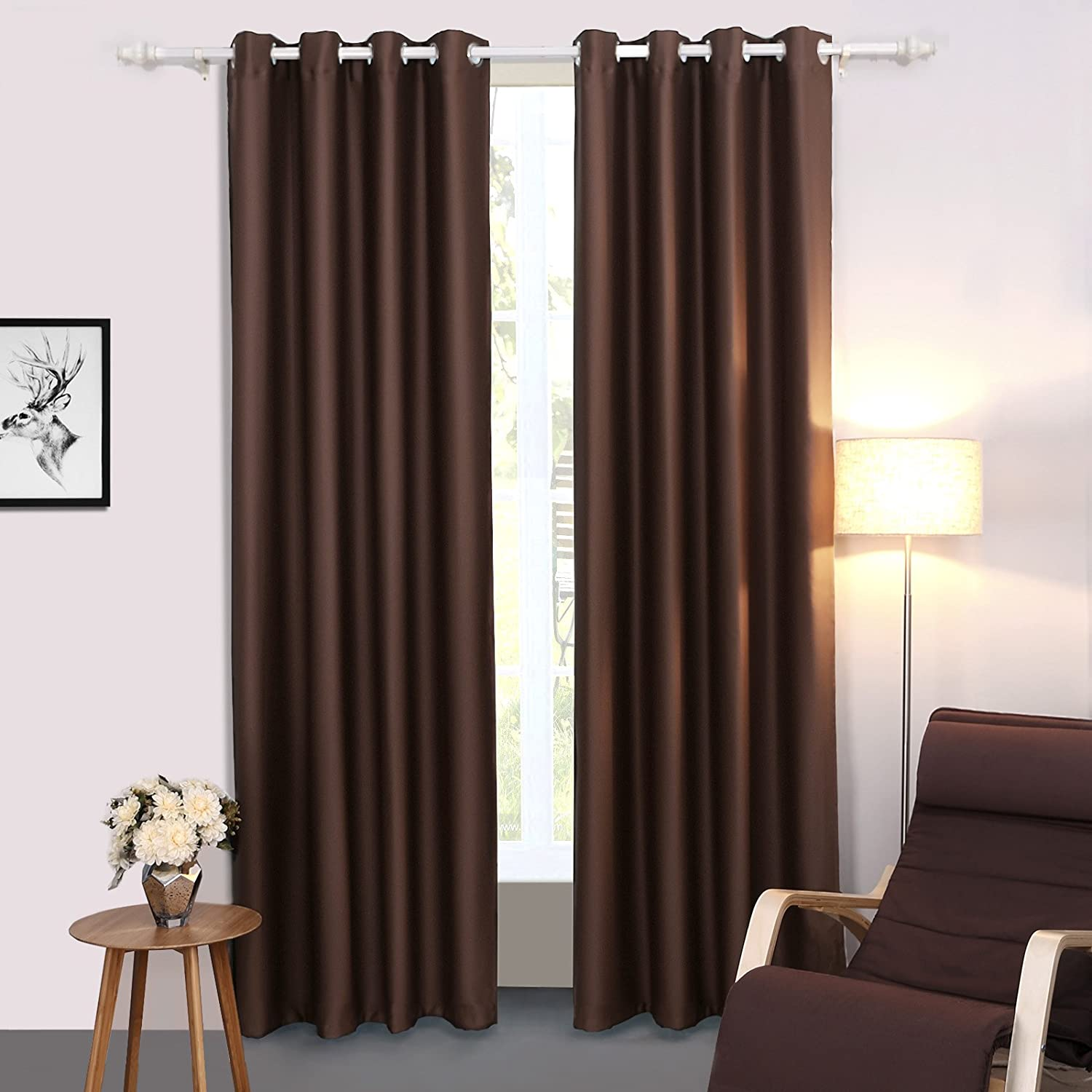Songmics Cortinas 2 piezas Blackout curtain opaca con ojales 145 x 245 cm Chocolate LRB245K-2: Amazon.es: Hogar