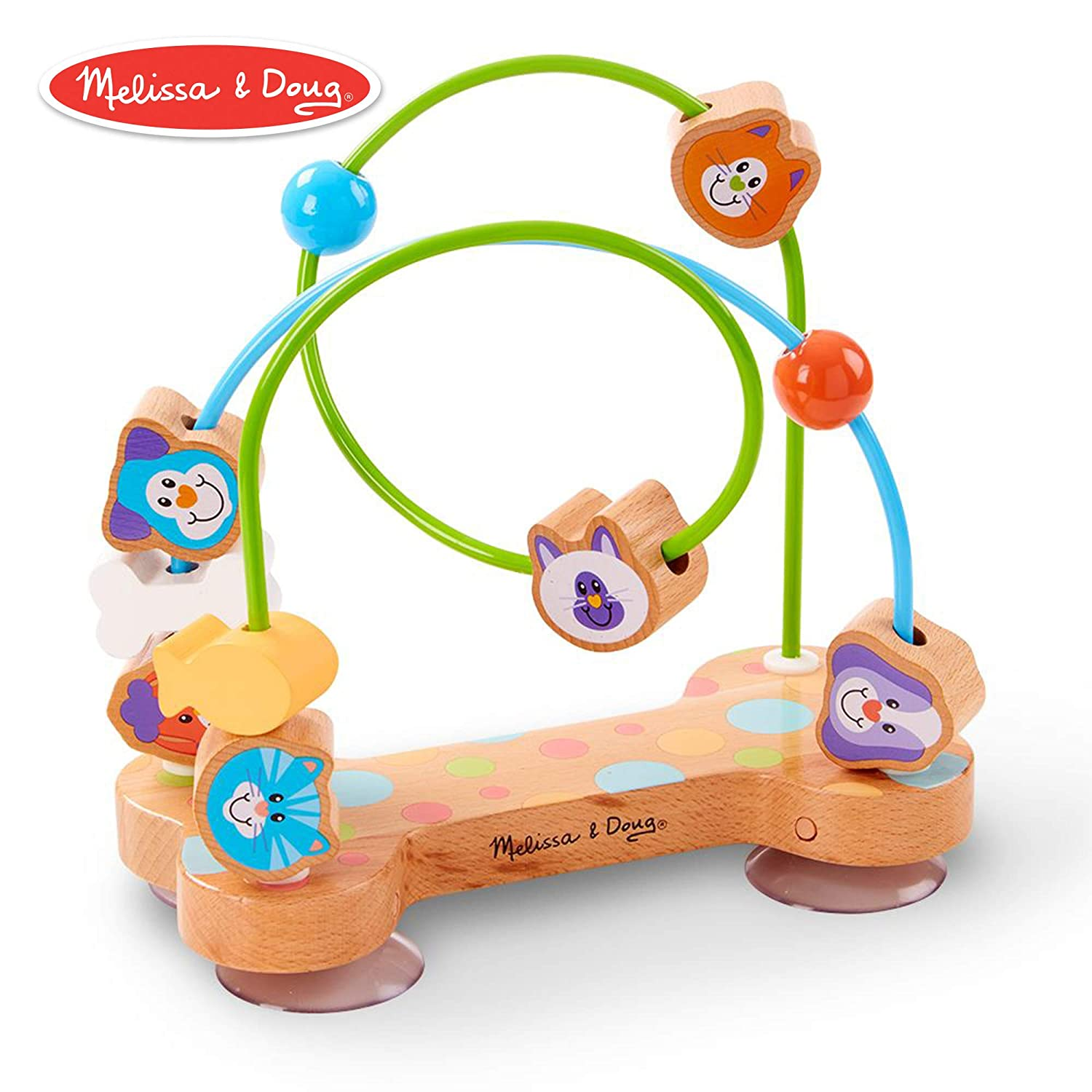 Melissa & Doug First Play Pets Wooden Bead Maze with Suction Cups for Babies & Toddlers