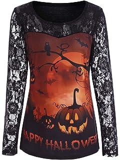 Artreurfomrdh Women Lace Long Sleeve Pumpkin Halloween Blouses