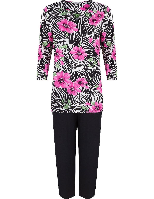 Pastunette Beachwear Viskose Strandoutfit aus Top und Hose in Schwarz und Pink geblümt 2061-381-2 (999)