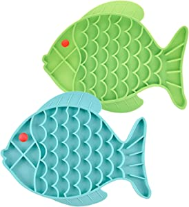 DLDER 2 Pack Fish-Shaped Pet Slow Feeder Lick Mat,Cat Puzzle Feeder for Anxiety Relief,Peanut Butter Lick Pad-Promote Health for Dogs/Cats (Green+Blue)
