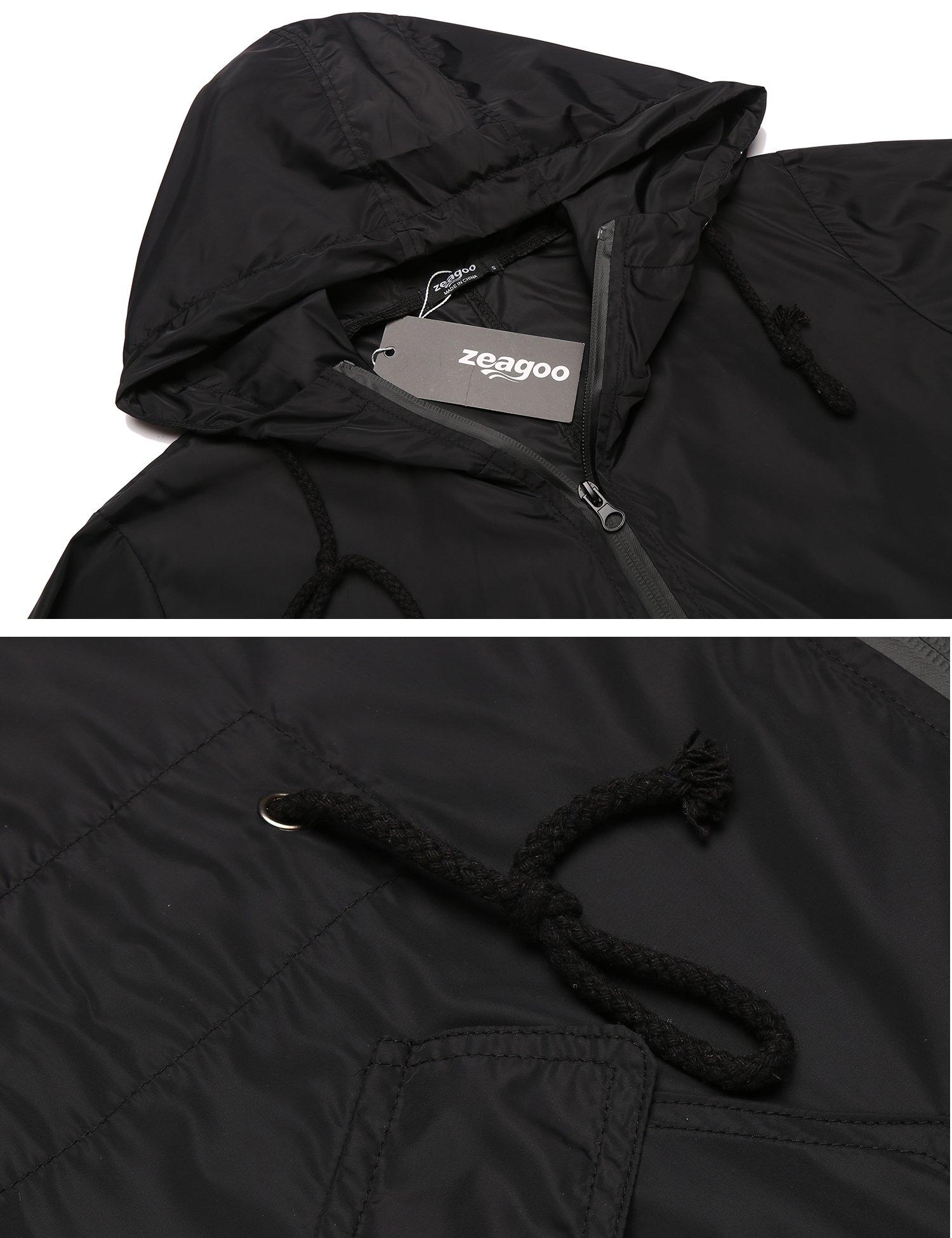 Zeagoo Women's Waterproof Front-Zip Lightweight Hoodie Hiking Cycling Outdoor Raincoat Active Jacket,Black,XXL by Zeagoo (Image #6)
