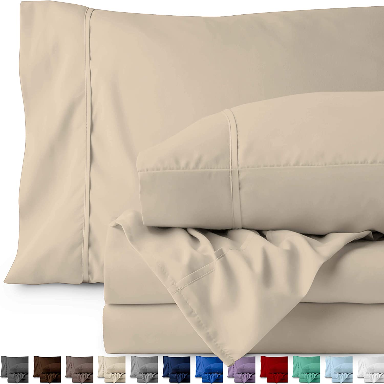 Bare Home Queen Sheet Set - 1800 Ultra-Soft Microfiber Bed Sheets - Double Brushed Breathable Bedding - Hypoallergenic – Wrinkle Resistant - Deep Pocket (Queen, Sand)