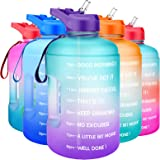 QuiFit Gallon Water Bottle Motivational - with Time Marker & Straw Leak-Proof BPA Free Durable Reusable 128oz Water Jug for F