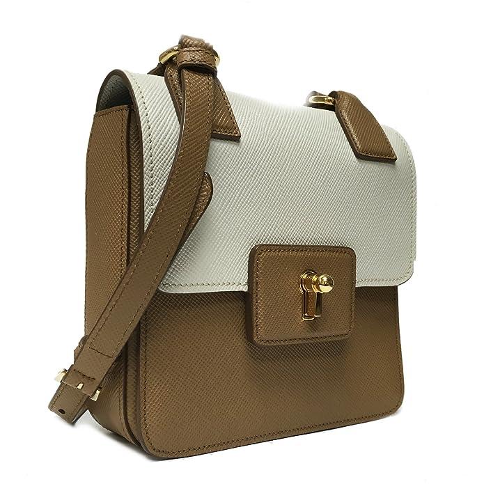 0ebea20e35c4 Prada Saffiano Cuir Pattina Caramel Beige   Talco White Leather Shoulder Bag  BT1015  Handbags  Amazon.com