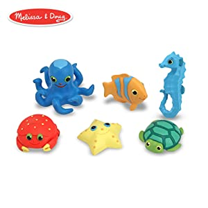 Melissa & Doug Sunny Patch Seaside Sidekicks Creature Set - Water Toys for Kids (Beach, Bath, or Pool, 6 Pieces)
