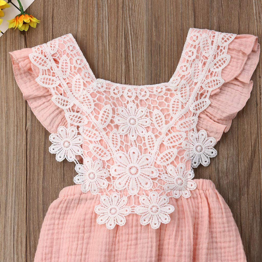 baskuwish Newborn Infant Baby Girl Clothes Lace Bowknot Back Jumpsuit Romper Sleeveless Bodysuit Sunsuit Outfits Set