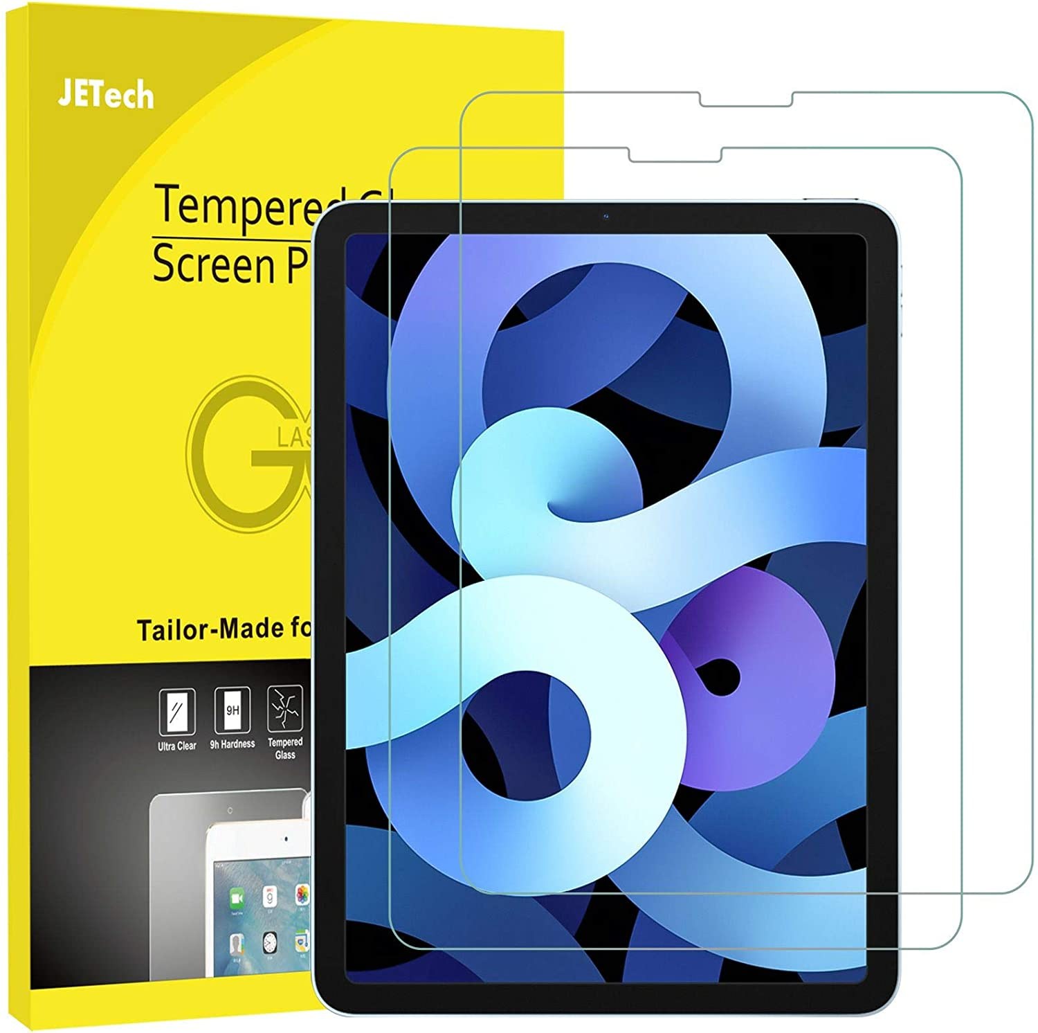JETech 2-Pack Screen Protector for iPad Air 4 10.9-Inch, iPad Pro 11-Inch (2020 and 2018 Release Edge to Edge Liquid Retina Display), Face ID Compatible, Tempered Glass Film