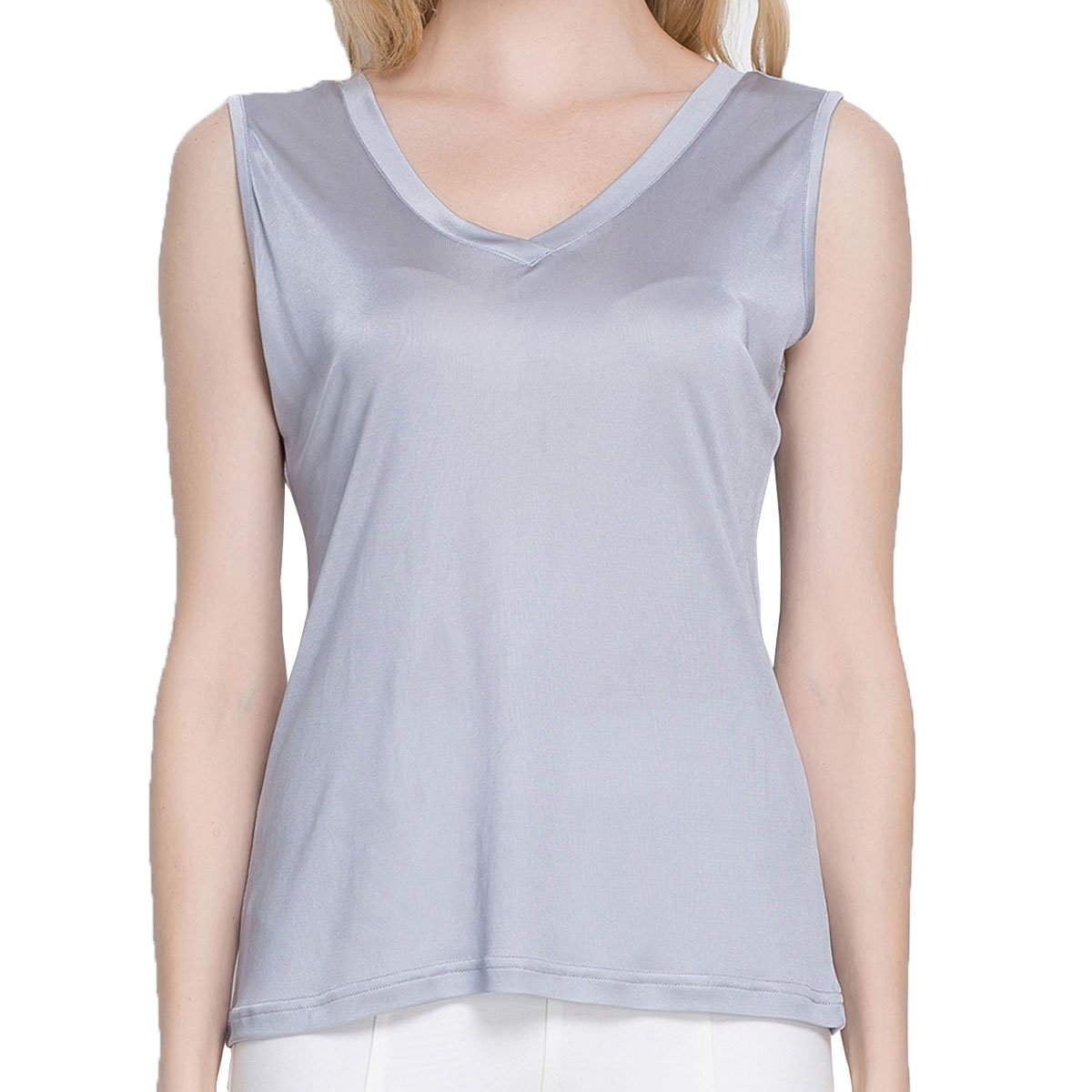 Paradise Silk Pure Silk Knit Women's V Neck Double Side Short Sleeves Top:  Amazon.co.uk: Clothing