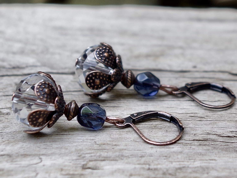 Knospenohrringe Vintage Ohrringe mit b/öhmischen Glasperlen klar AB creme /& bronze//Knospen Knospe wei/ß NEU!