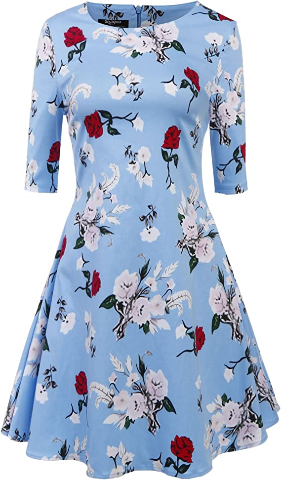 Zeagoo Women Half Sleeve Floral A-Line Pleated Cocktail Party Dress