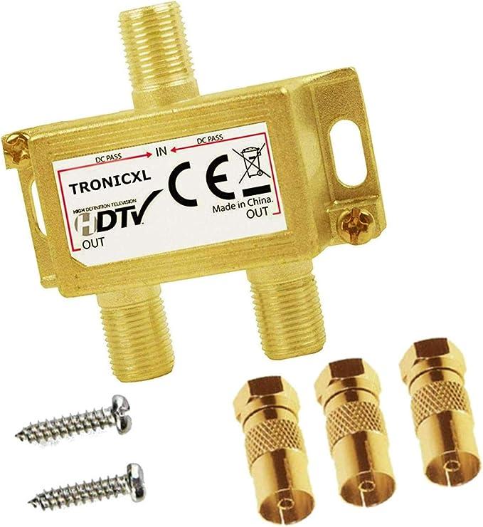 TronicXL Premium - Distribuidor de antena Antenas coaxial HD 3D 4K distribuidor Splitter de Cables F suave para DVBT DVBT2 DVBC SAT Unicable Cable ...