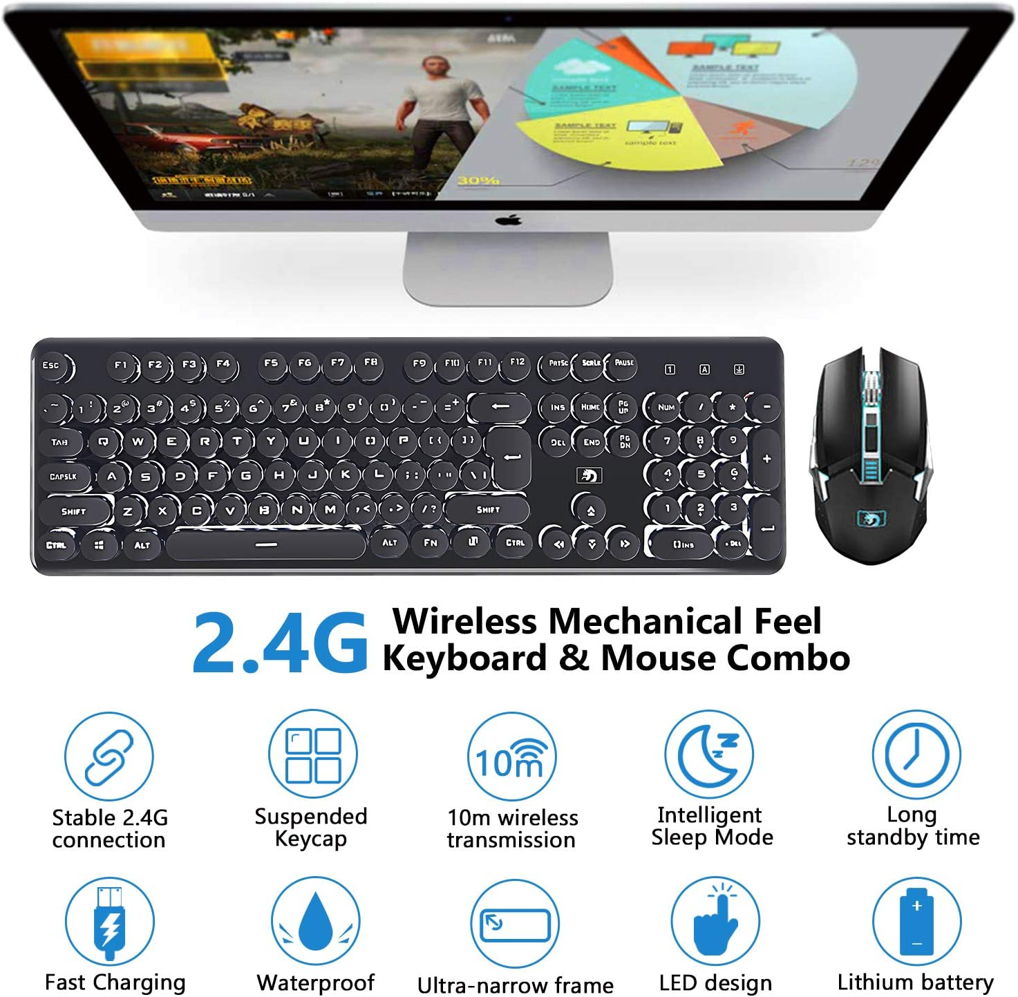Hoopond 2.4G combinación de teclado y mouse inalámbricos ...
