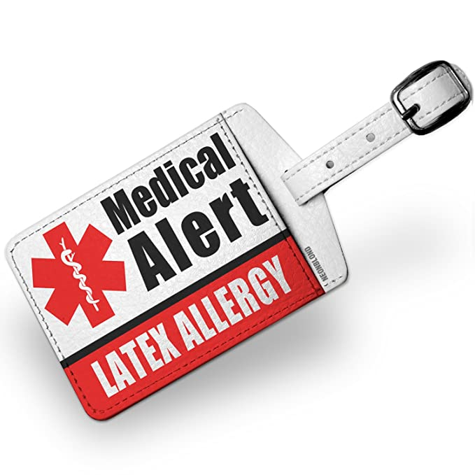 amazon com luggage tag medical alert red latex allergy neonblond