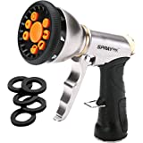 SprayTec Garden Hose Nozzle Sprayer – Heavy Duty Metal Spray Gun w/ Pistol Grip Trigger. 9 Adjustable Patterns Best For…