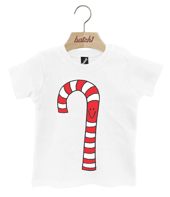 Batch1 Mr Candy Cane Festive Christmas Sweets Popper Neck Baby Xmas T-Shirt