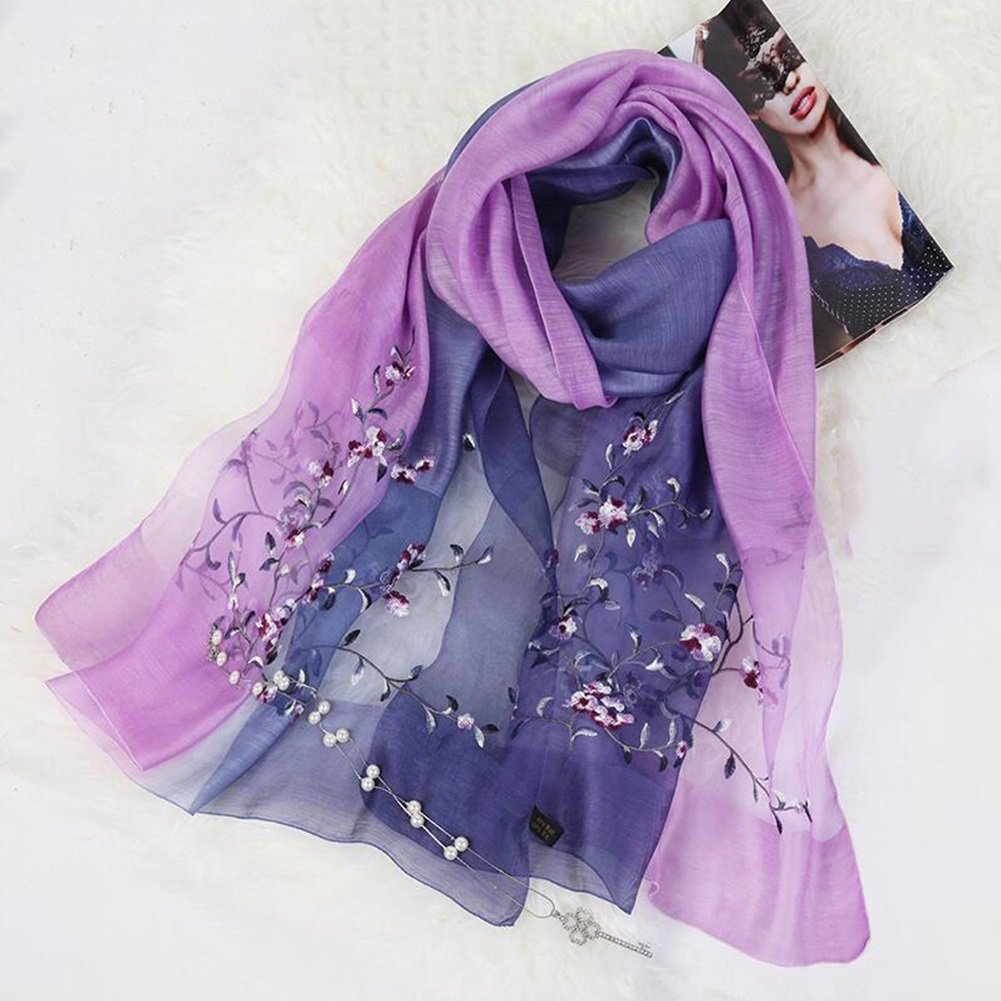 G YQQ Ladies Scarves Hand Painted Flower Scarves (color   I)