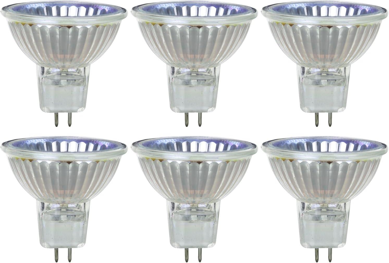Sunlite Series 50MR16/CG/FL/120V/6PK Halogen 50W 120V MR16 Flood Light Bulbs, 3200K Bright White, GU5.3 Base, 6 Pack, 6 Count