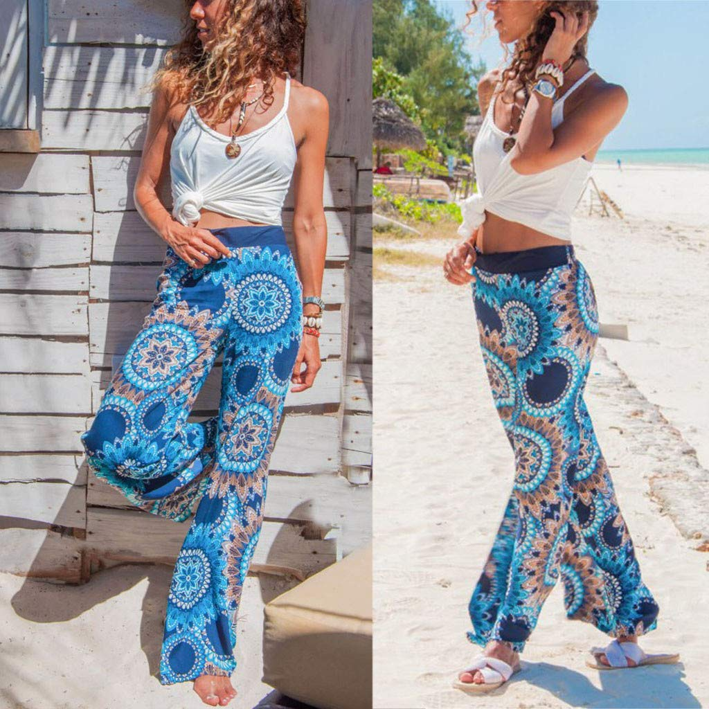 Pervobs Women Summer Casual Boho Floral Printing High Waist Wide Leg Pants Holiday Daily Loose Leggings Trouser(M, Blue) by Pervobs Women Pants (Image #2)