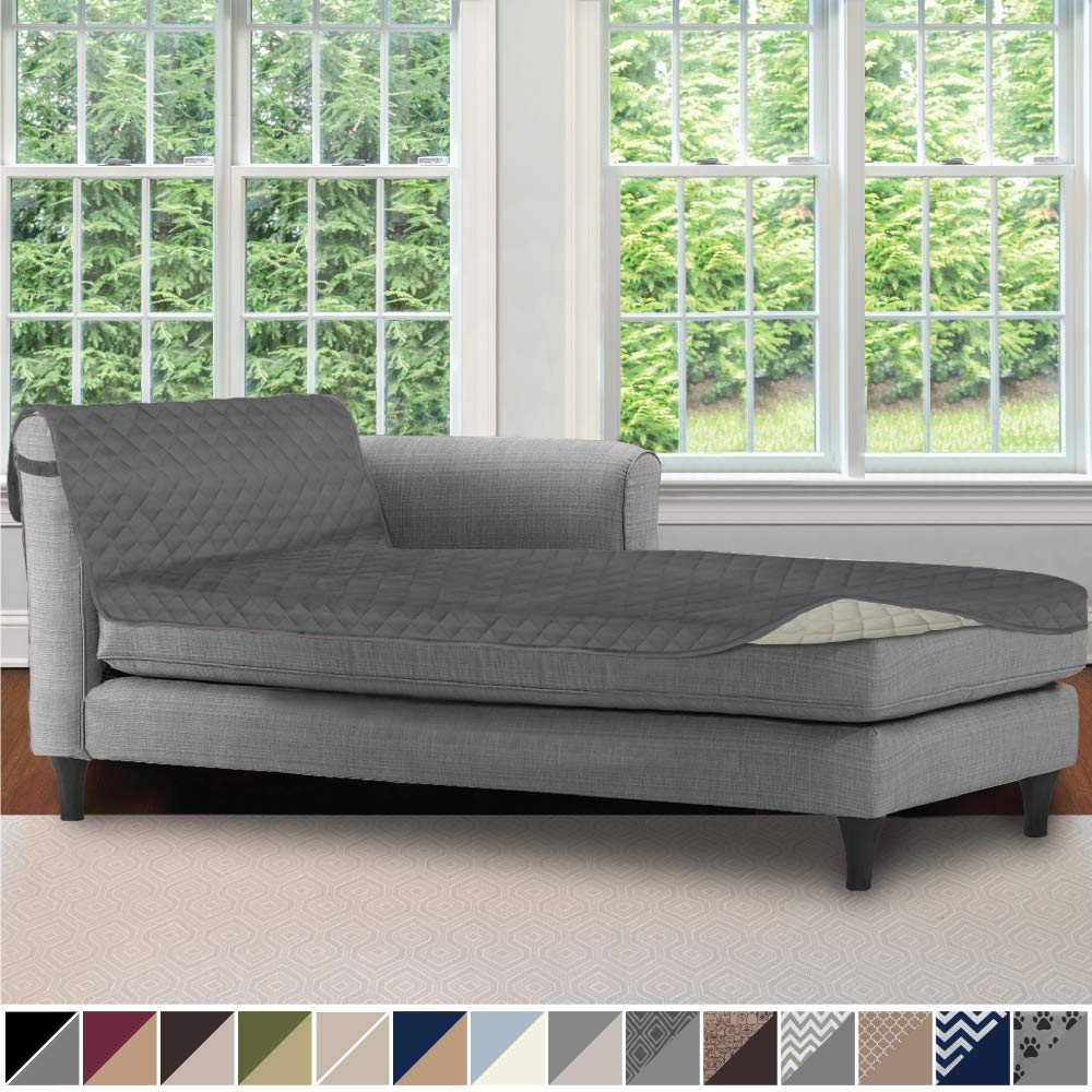 Sofa Shield Original Patent Pending Reversible Chaise Lounge Slipcover, 2 Inch Strap Hook, 102 Inch x 34 Inch Size Furniture Protector, Couch Slip Cover for Kids, Pets, Chaise Lounge, Charcoal Linen