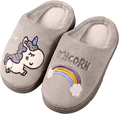 Knemksplanet Kids Unicorn Slippers Household Anti-Slip Fuzzy Warm Shoes Indoor Home House Slippers for Girls Boys