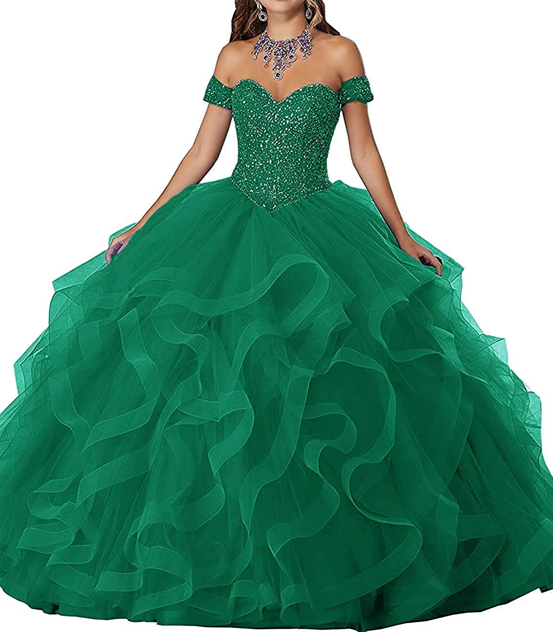 Dark Green ASBridal Quinceanera Dress Sweet 16 Formal Prom Party Dresses Crystals Beaded Ball Gowns
