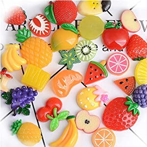 Fruit Charms for Slime, IGIYI 100 Pcs Small Resin DIY Mixed Fruits Orange Apple Banana Strawberry Grape Watermelon and More for Slime Cell Phone Kids, Assorted Fruits Slime Charms