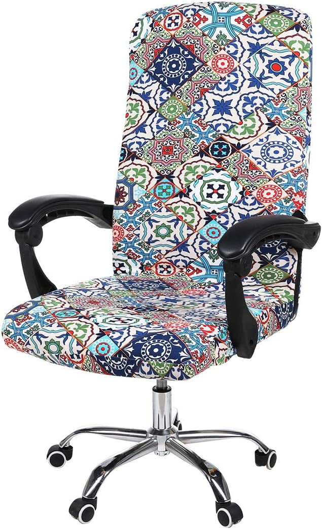 smiry Stretch Printed Computer Office Chair Covers, Soft Fit Universal Desk Rotating Chair Slipcovers, Removable Washable Anti-Dust Spandex Chair Protector Cover with Zipper (Colorful Vintage)