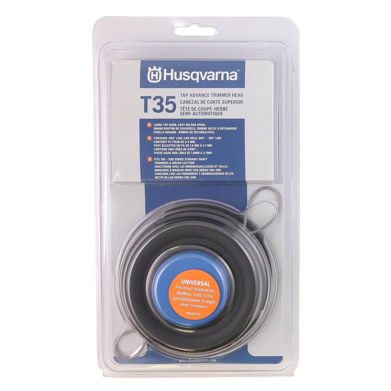 Husqvarna 537388101 Universal T35 Tap Advance Straight Shaft String Trimmer Head Prewound With .095-Inch Line